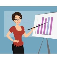 Female teacher is demonstrating a diagram vector image