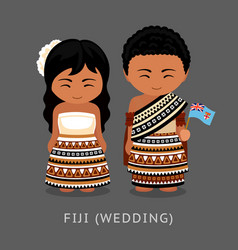 Fijians in national dress with a flag vector