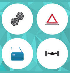 flat auto set of suspension belt automobile part vector image