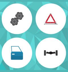 Flat auto set of suspension belt automobile part vector