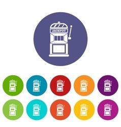 Gamble machine set icons vector image