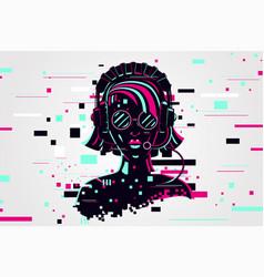 Girl gamer portrait video games background vector