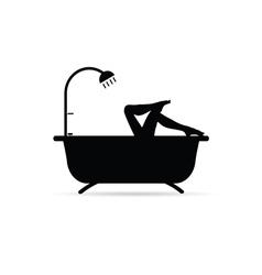 Girl long legs in bathtube vector