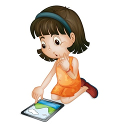 Girl using tablet computer vector
