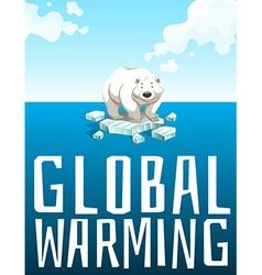 Global warming theme with polar bear vector