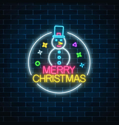 glowing neon christmas sign with snowman with hat vector image