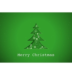 Green Christmas Greeting vector image