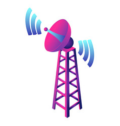 Gsm smart tower icon isometric style vector