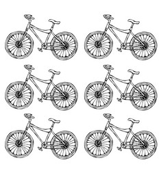 hand drawn of city bicycle in vector image