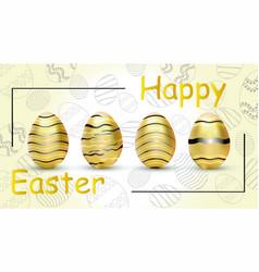 happy easter golden eggs vector image