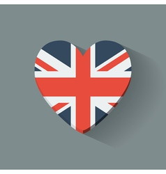 Heart-shaped icon with flag uk vector