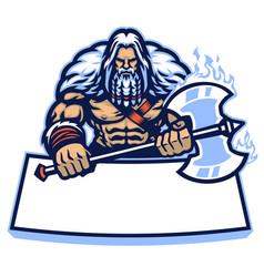 Huge nordic warrior mascot hold big axe weapon vector