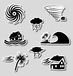 Hurricane natural disaster problem stickers set vector