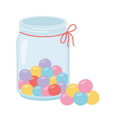 Jar glass with balls candies sweet confectionery vector