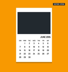June 2015 calendar vector image