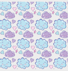 Kawaii fluffy clouds with stars and hearts vector