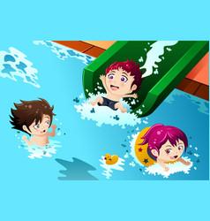 kids having fun in the swimming pool vector image