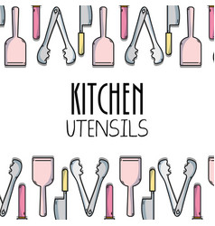 Kitchen utensils background decoration design vector