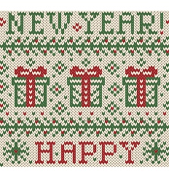 Knitted jacquard Happy New Year vector image