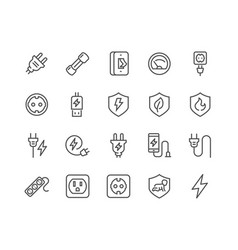 Line surge protector icons vector