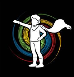 little boy super hero action cartoon graphic vector image