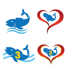 Logo omega fish on heart vector