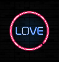 love heart pink neon sign letters on brick wall vector image