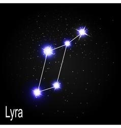 Lyra Constellation with Beautiful Bright Stars on vector