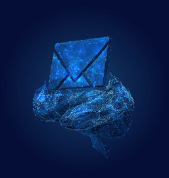 mail symbol on brain low poly blue vector image