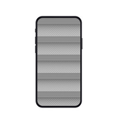Mobile phone with empty shelves for online store vector