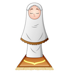 Muslim girl praying isolated on white background vector