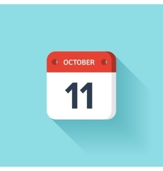 October 11 Isometric Calendar Icon With Shadow vector