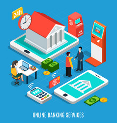 Online banking services isometric composition vector