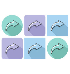 outlined icon of right curved arrow with parallel vector image