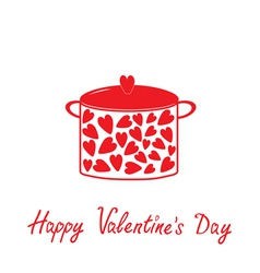 Pot with hearts Happy Valentines Day vector image