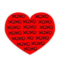 red heart icon xoxo phrase sketch saying hugs and vector image