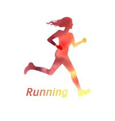 Running girl silhouette vector