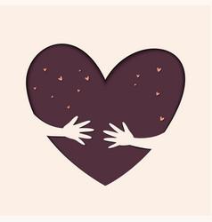 save love hand heart gesture header vector image