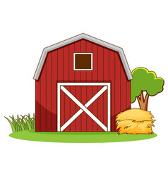 Scene with red barn and hay on farm vector
