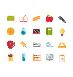 school and education supplies icons set vector image