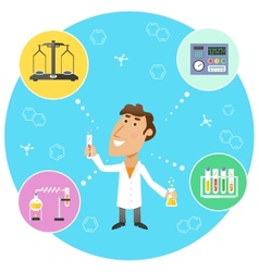 Scientist chemist in lab vector