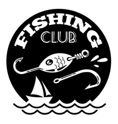 Sea fishing club logo simple style vector