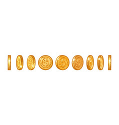set gold coins with dollar symbol in different vector image