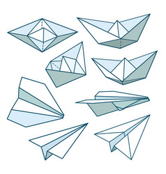 set paper planes and paper ships black and white vector image