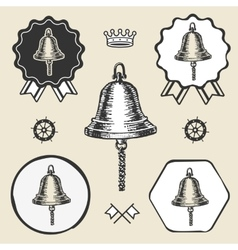 Ship bell vintage sea naval symbol emblem label vector