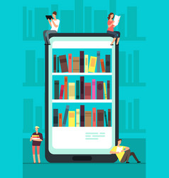 Smartphone with reader app and people reading vector
