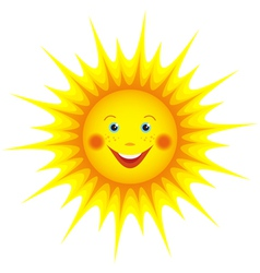 Smiling sun cartoon orange vector image