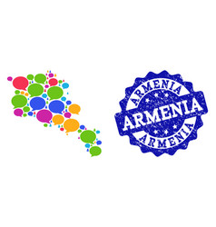 Social network map of armenia with chat bubbles vector