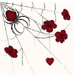 spider and heart vector image