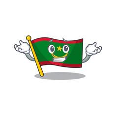 Super cool grinning flag mauritania mascot cartoon vector